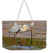 Great Blue Heron Wrestles A Snake Weekender Tote Bag
