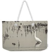 Great Egret At Horicon - B - W  Weekender Tote Bag