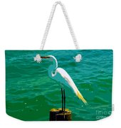 Great Egret Emerald Sea Weekender Tote Bag