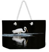 Great Egret Fishing In Early Morning Weekender Tote Bag
