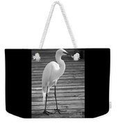 Great Egret On The Pier - Black And White Weekender Tote Bag