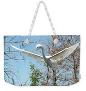 Great Egret Over The Treetops Weekender Tote Bag