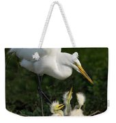 Great Egret With Chicks Weekender Tote Bag