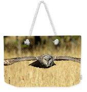 Great Gray Owl In Flight Weekender Tote Bag