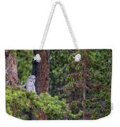 Great Gray Owl Perched Weekender Tote Bag