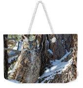 Great Horned Owl On Snowy Branch Weekender Tote Bag