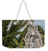 Great Horned Owl - Owl On The Rocks Weekender Tote Bag