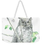 Great Horned Owl Perched In A Tree Weekender Tote Bag