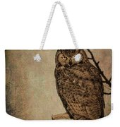Great Horned Owl With Textures Weekender Tote Bag