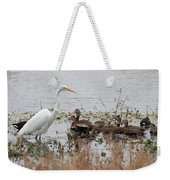 Great White Egret And Ducks Weekender Tote Bag