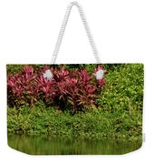 Great White Egret Fishing In A Pond With Tropical Plants And Sie Weekender Tote Bag