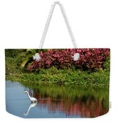 Great White Egret Hunting In A Pond In Mexico With Iguana And Re Weekender Tote Bag