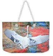 Great White Egret Landing Weekender Tote Bag