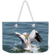 Great White Pelican In Flight Weekender Tote Bag