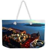 Greek Food At Santorini Weekender Tote Bag by David Smith