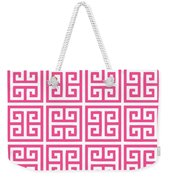 Greek Key With Border In French Pink Weekender Tote Bag