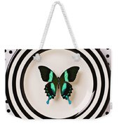 Green And Black Butterfly On Plate Weekender Tote Bag