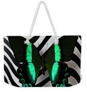 Green And Black Butterfly On Wavey Lines Weekender Tote Bag