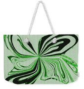 Green And Black Embroidered Butterfly Abstract Weekender Tote Bag