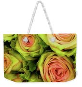Green And Pink Rose Bouquet Weekender Tote Bag