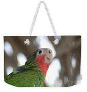 Green And Red Conure With Ruffled Feathers Weekender Tote Bag