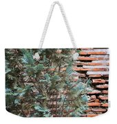 Green And Red - Cypress Branches Over Antique Roman Brick Wall Weekender Tote Bag