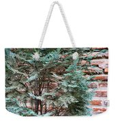 Green And Red - Slender Cypress Branches Over Rough Roman Brick Wall Weekender Tote Bag