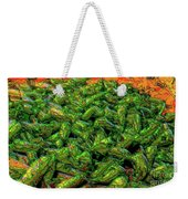 Green Bean Montage Weekender Tote Bag by Ron Bissett