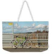 Green Bicycle On Bridge Weekender Tote Bag