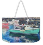 Green Boat Reflections Weekender Tote Bag