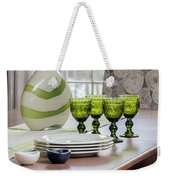 Green Decor Dinning Table Place Settings Weekender Tote Bag