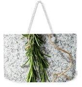 Green Fresh Rosemary On Granite Background Weekender Tote Bag