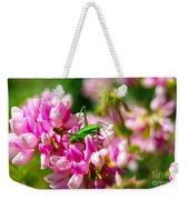 Green Grasshopper On Pink Flowers Weekender Tote Bag