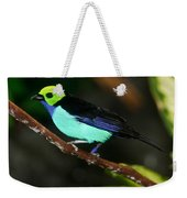 Green Headed Bird On Branch Weekender Tote Bag