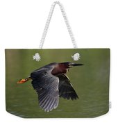 Green Heron In Flight Weekender Tote Bag