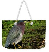 Green Heron In Swampy Water Weekender Tote Bag