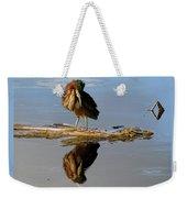 Green Heron Preening Weekender Tote Bag