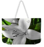 Green Highlighted Lily Weekender Tote Bag