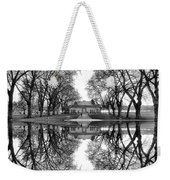 Green Lake Bathhouse Black And White Reflection Weekender Tote Bag