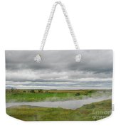 Green Landscape With Steamy River Weekender Tote Bag