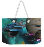 Green Nebular Expanse Weekender Tote Bag by Corey Ford