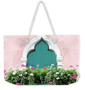 Green Ornate Door With Geraniums Weekender Tote Bag