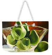 Green Pears In Glass Bowl Weekender Tote Bag