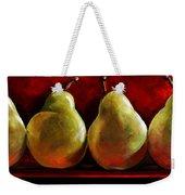 Green Pears On Red Weekender Tote Bag by Toni Grote
