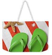 Green Sandals On Beach Towel Weekender Tote Bag