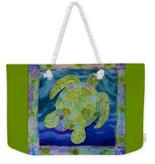 Green Sea Turtle Silk Painting Weekender Tote Bag