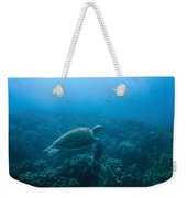 Green Sea Turtle Swimming Over Coral Weekender Tote Bag