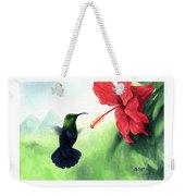 Green-throated Carib Hummingbird And Red Hibiscus Weekender Tote Bag