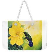 Green-throated Carib Hummingbird And Yellow Hibiscus Weekender Tote Bag