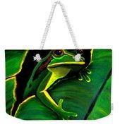 Green Tree Frog And Leaf Weekender Tote Bag